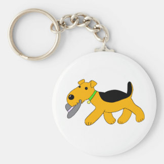 Airedale Terrier Cute Dog With Hat Keychain