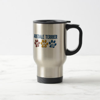 AIREDALE TERRIER DAD Paw Print Stainless Steel Travel Mug