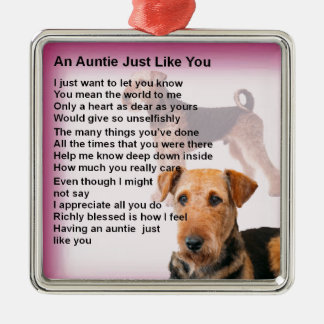 Airedale Terrier Design -  Auntie poem Christmas Ornament