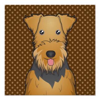 Airedale Terrier Dog Cartoon Paws Photo Print