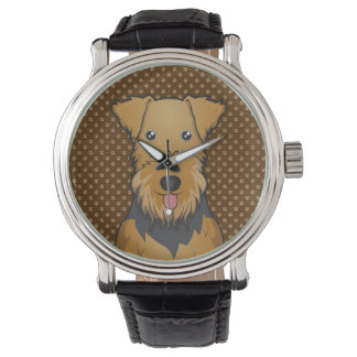 Airedale Terrier Dog Cartoon Paws Watch