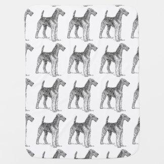 Airedale Terrier Elegant Dog Drawing Baby Blanket