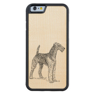 Airedale Terrier Elegant Dog Drawing Carved Maple iPhone 6 Bumper Case