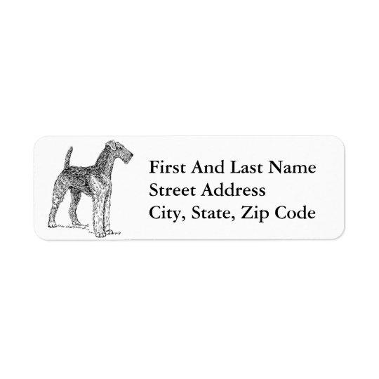 Airedale Terrier Elegant Dog Drawing Return Address Label