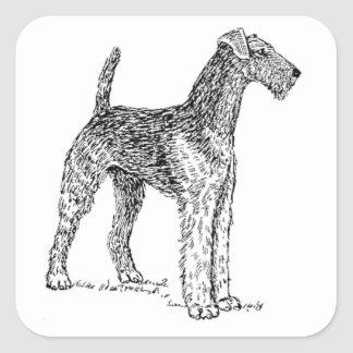 Airedale Terrier Elegant Dog Drawing Square Stickers