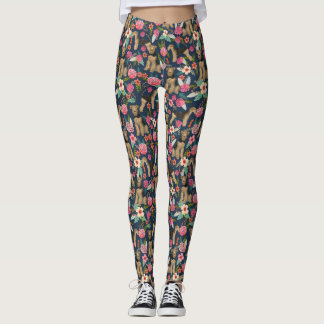 Airedale Terrier Floral Dog leggings