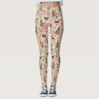 Airedale Terrier Floral print leggings