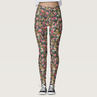 Airedale Terrier Floral print leggings - charcoal