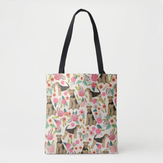 Airedale Terrier floral print tote bag