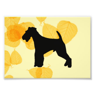 Airedale Terrier Gold Leaves Photo Print