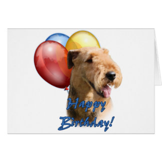 Airedale Terrier Happy Birthday Balloon Card