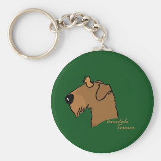 Airedale Terrier head silhouette Basic Round Button Key Ring