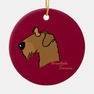 Airedale Terrier head silhouette Christmas Ornament
