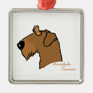 Airedale Terrier head silhouette Silver-Colored Square Decoration