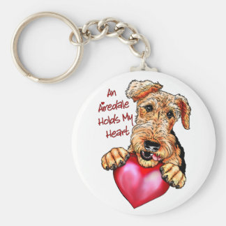 Airedale Terrier Holds My Heart Basic Round Button Key Ring