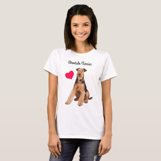 Airedale Terrier Illustrated T-Shirt (White)