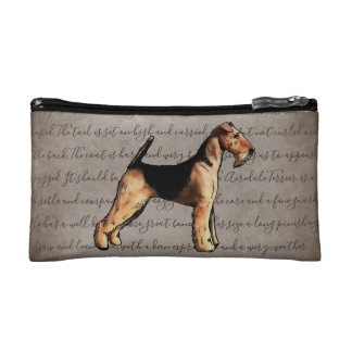 Airedale Terrier Illustration Cosmetic Bag