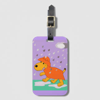 Airedale Terrier in Rain Luggage Tag w card slot