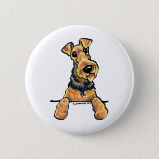 Airedale Terrier Line Art 6 Cm Round Badge