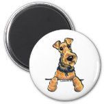 Airedale Terrier Line Art 6 Cm Round Magnet