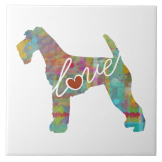 Airedale Terrier Love (Watercolor) Large Square Tile
