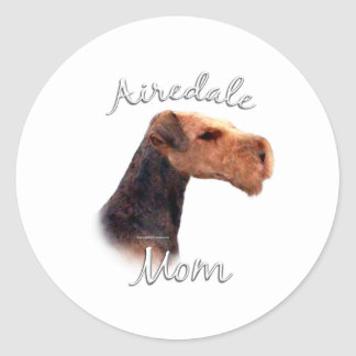 Airedale Terrier Mom 2 Round Stickers