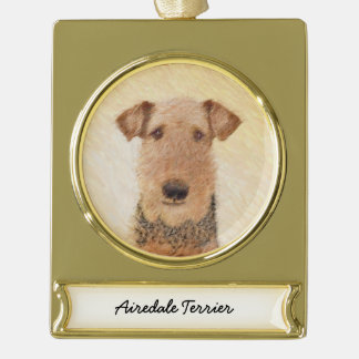 Airedale Terrier Painting - Cute Original Dog Art Gold Plated Banner Ornament