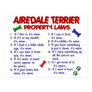 AIREDALE TERRIER Property Laws 2 Postcard
