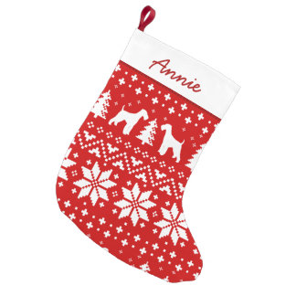 Airedale Terrier Silhouettes Holiday Pattern Small Christmas Stocking