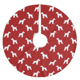 Airedale Terrier Silhouettes Pattern Brushed Polyester Tree Skirt