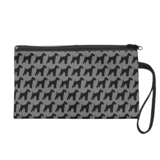 Airedale Terrier Silhouettes Pattern Wristlet