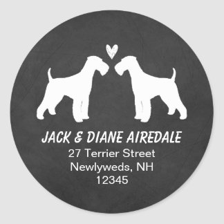 Airedale Terrier Silhouettes Return Address Round Sticker
