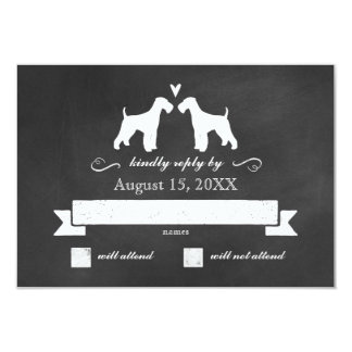 Airedale Terrier Silhouettes Wedding RSVP Response 9 Cm X 13 Cm Invitation Card