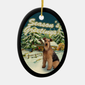 Airedale Terrier Snow Cabin Christmas Ornament