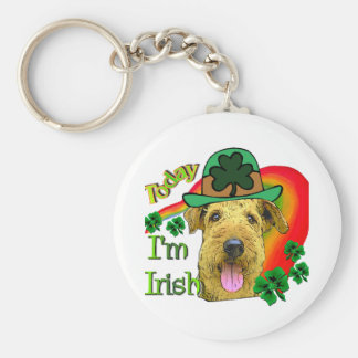 Airedale Terrier St. Patrick's Day Basic Round Button Key Ring