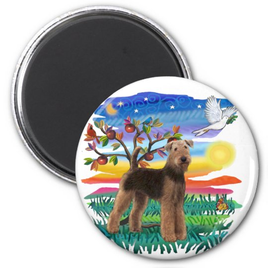 Airedale Terrier - Sun Glow 6 Cm Round Magnet