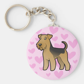 Airedale Terrier / Welsh Terrier Love Basic Round Button Key Ring