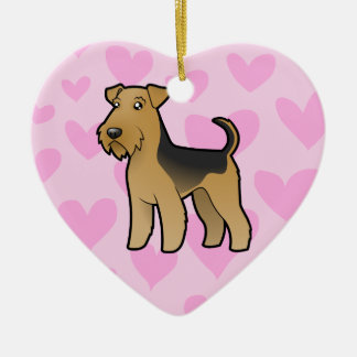Airedale Terrier / Welsh Terrier Love Ceramic Heart Decoration