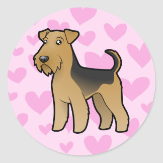 Airedale Terrier / Welsh Terrier Love Classic Round Sticker