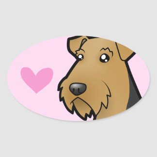 Airedale Terrier / Welsh Terrier Love Oval Sticker