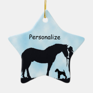 Airedale Terrier Western Silhouette Christmas Ornament
