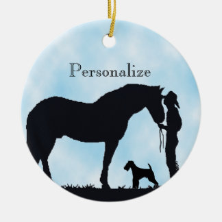 Airedale Terrier Western Silhouette Round Ceramic Decoration