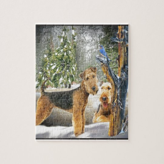 Airedale Terrier Winter Day gifts Jigsaw Puzzle