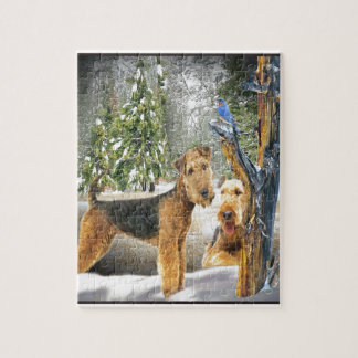 Airedale Terrier Winter Day gifts Puzzle