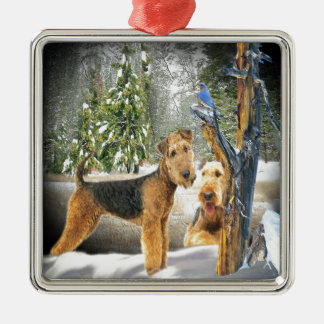 Airedale Terrier Winter Day gifts Silver-Colored Square Decoration