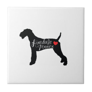 Airedale Terrier with Heart Dog Breed Love Small Square Tile