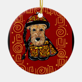Airedale Terrier Year of the Dog Christmas Ornament