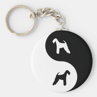 Airedale Terrier Yin Yang Basic Round Button Key Ring