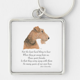 Airedale, Welsh, Lakeland Terrier Keepsake Silver-Colored Square Key Ring