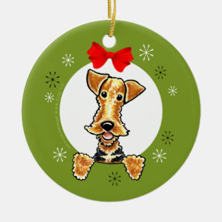 Airedale Welsh Terrier Christmas Classic Round Ceramic Decoration